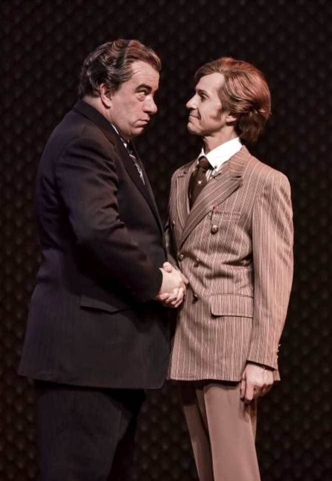 Photo -  D. Lance Marsh, left, stars as President Richard Nixon and Matthew Alvin Brown as David Frost in Lyric Theatre's
