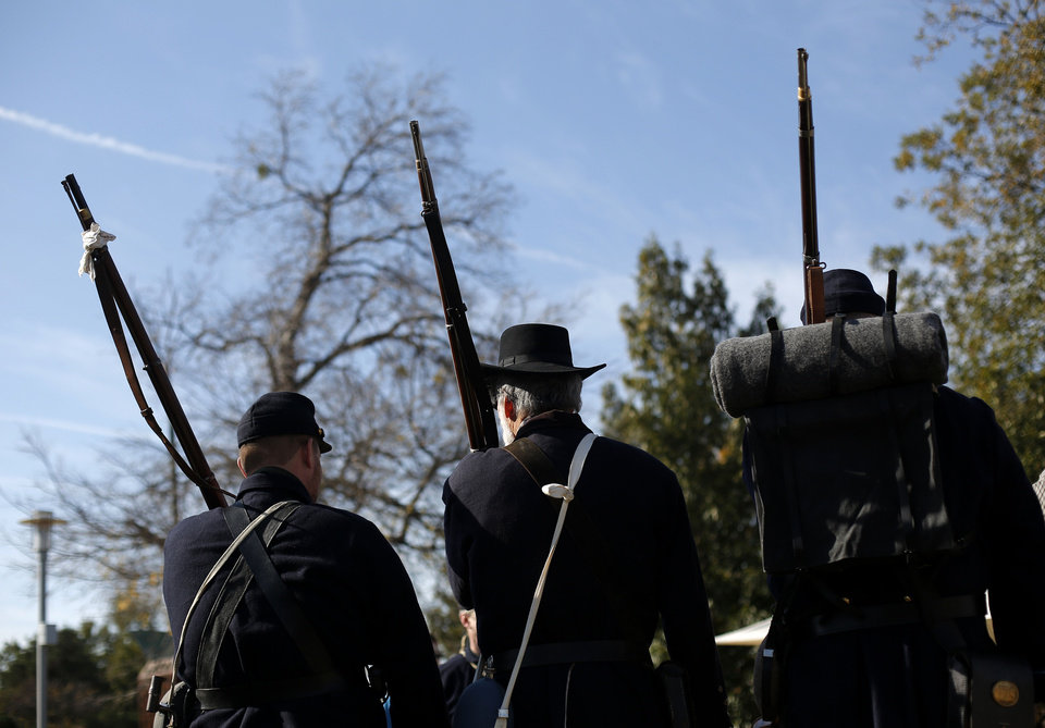 Civil War living historians line up for drills during an Oklahoma military heritage presentation at the Oklahoma History Center in Oklahoma City.  Photo by Garett Fisbeck, The Oklahoman <strong>GARETT FISBECK - GARETT FISBECK</strong>