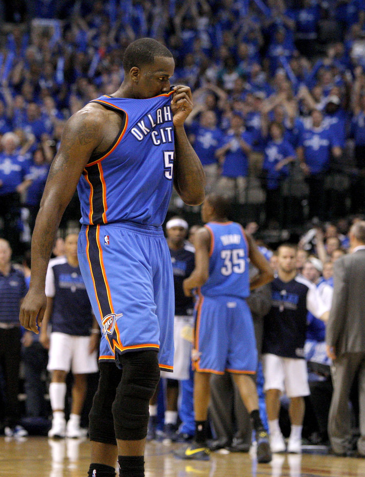Oklahoma City's Kendrick Perkins (5) back to the bench after losing game 1 of the Western Conference Finals in the NBA basketball playoffs between the Dallas Mavericks and the Oklahoma City Thunder at American Airlines Center in Dallas, Tuesday, May 17, 2011. Photo by Bryan Terry, The Oklahoman