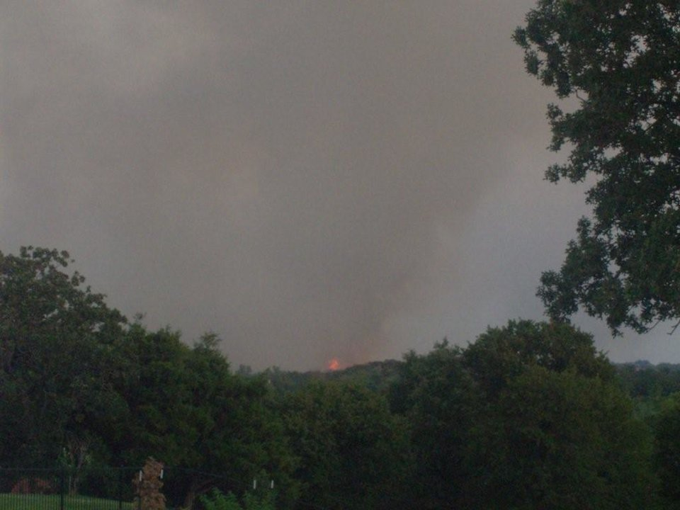 Photo - rekindled fire from I-35 and Memorial