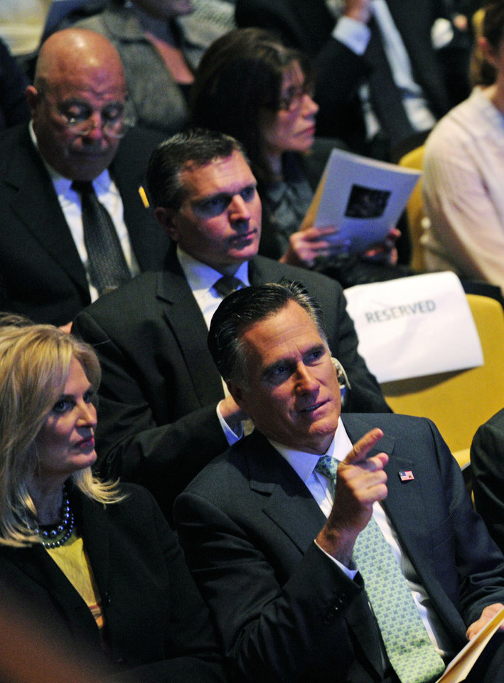 Photo -   In this image released by CBS, Republican presidential candidate, former Massachusetts Gov. Mitt Romney, right, and his wife, Ann, attend the CBS News memorial service for Mike Wallace at Jazz at Lincoln Center in New York on Tuesday, May 1, 2012. Wallace died at age 93 on April 7. (AP Photo/CBS, John Paul Filo)