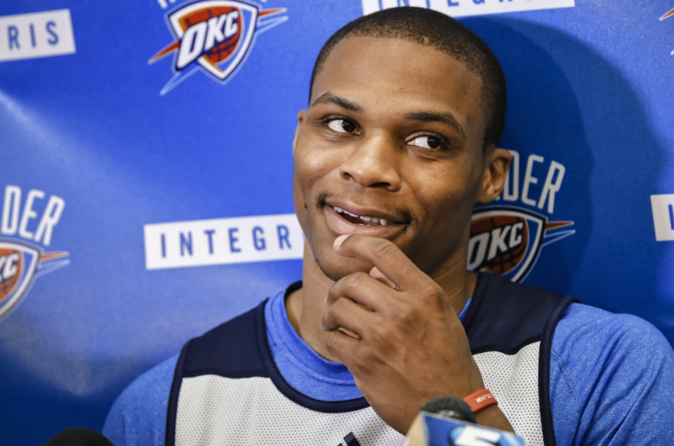 Russell Westbrook responds to questions during the Oklahoma City Thunder media availability at the Thunder practice facility in Oklahoma City, Okla. on Monday, May 12, 2014.   Photo by Chris Landsberger, The Oklahoman