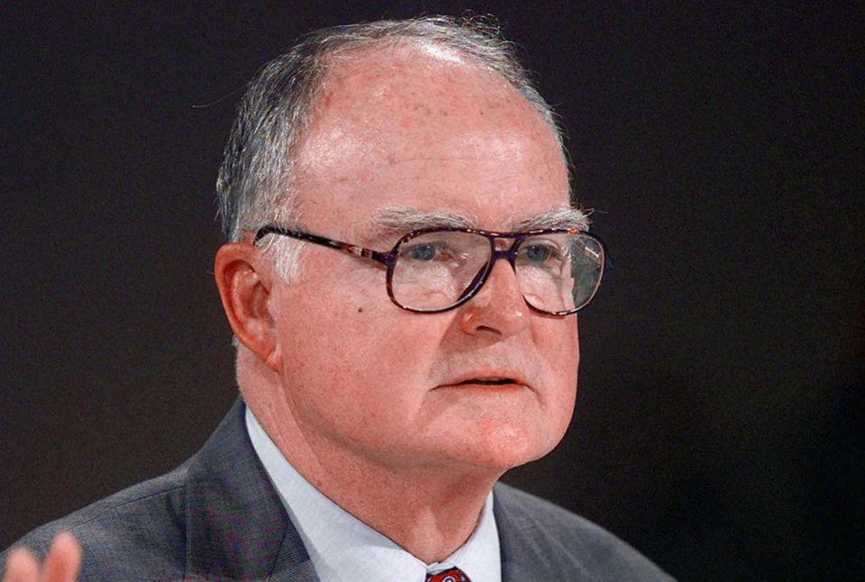 Photo - FILE - This July 28, 1997 file photo shows William Ruckelshaus, the first EPA administrator under President Nixon and who also served under President Ronald Reagan, speaking in Las Vegas. Top environmental regulators for four Republican presidents told Congress on Wednesday what many Republican lawmakers won't: Action is needed on global warming. (AP Photo/Jack Dempsey, File )