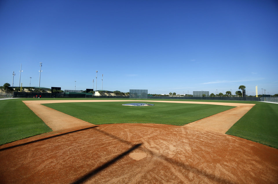 Photo - One of the diamonds at the St. Louis Cardinals spring training baseball practice facility is quiet Wednesday, Feb. 12, 2014, in Jupiter, Fla. Cardinals pitchers and catchers first official practice is scheduled for Thursday. (AP Photo/Jeff Roberson)