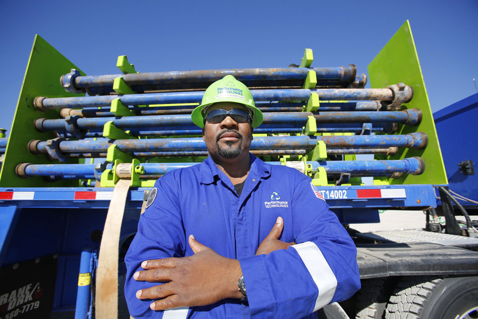 Photo - Maverick Burroughs, a Marine Corps veteran, is one of more than 600 veterans hired this year by Chesapeake Energy Corp. He works for Chesapeake affiliate Performance Technologies LLC.  Steve Gooch - The Oklahoman