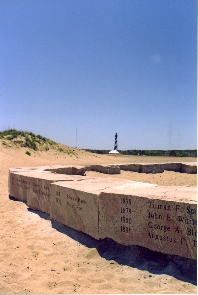 In a May 10, 2001 photo provided by Bruce Roberts, shows the stones the massive stones that held up the famous beacon, uncovered and engraved, with the Cape Hatteras Lighthouse in the background. When the Cape Hatteras Lighthouse was moved 15 years ago, the stones were left behind at the erosion-prone spot on the Atlantic. Hatteras Island residents want the stones moved to the lighthouse so that they are publicly visible year-round and better protected from erosion. But the decision rests with the National Park Service, and so far there is no indication that the stones will be moved.  (AP Photo/Bruce Roberts)