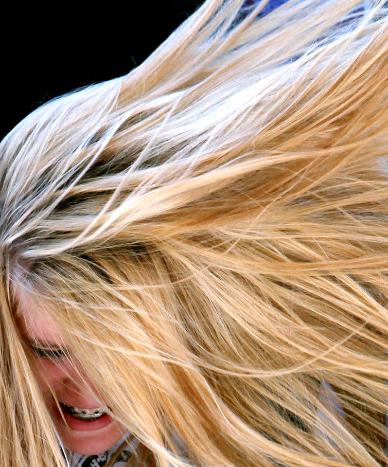 Sara Wedel, of Oklahoma City, laughs as her hair blows in the wind while riding the Space Loop at the 2009 Oklahoma State Fair at State Fair Park in Oklahoma City on Sunday, Sept. 27, 2009. By John Clanton, The Oklahoman