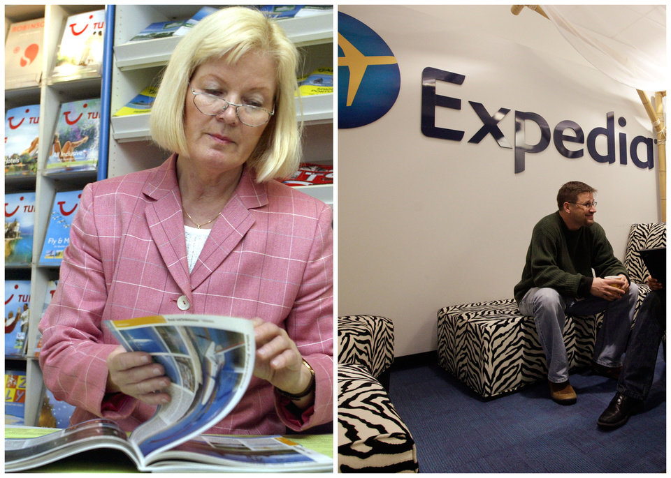 This combination of Associated Press file photos shows, left, travel agent, Gabriele Herlitschka leafing through an Asia and Australia travel catalogue in her travel agency office in 2002, in Duesseldorf, Germany, and right, Expedia worker Mike Brown  in an alcove set up for employees in 2013, in Bellevue, Wash.  The number travel agents fell 46 percent from 142,000 to 76,000 in ten years through 2010. (AP Photo)