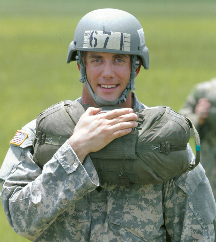 Photo -  Matt Meloni after landing his first jump in Airborne Ranger school. [Photo provided]