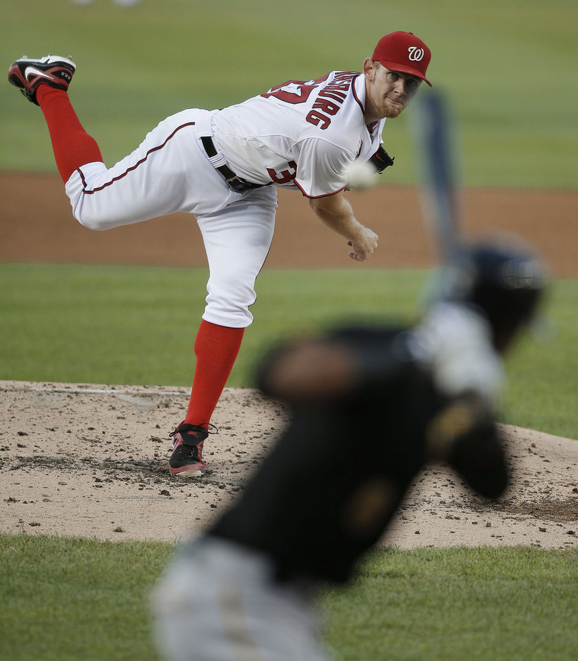 Washington Nationals starting pitcher Stephen Strasburg throws to Pittsburgh Pirates' Starling Marte during the third inning of a baseball game at Nationals Park, Wednesday, July 24, 2013, in Washington. Pittsburgh won 4-2. (AP Photo/Pablo Martinez Monsivais)