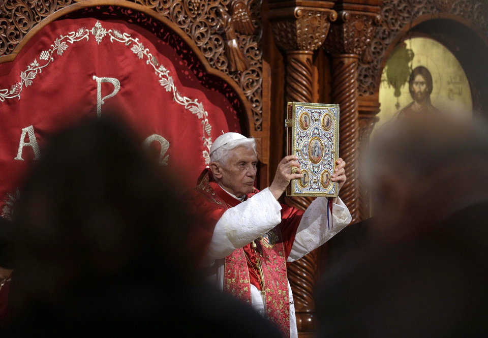 Photo -   Pope Benedict XVI leads a ceremony in St. Paul Basilica in Harissa, near Beirut, Friday, Sept. 14, 2012. Pope Benedict XVI started a three-day visit to Lebanon on Friday. During his visit, the Pope said he would meet with Lebanese authorities as well as Christians from Lebanon and other nearby countries.(AP Photo/Alessandra Tarantino)