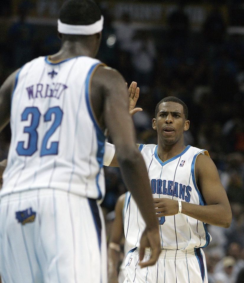 Photo - New Orleans Hornets guard Chris Paul congratulates Julian Wright (32) after Wright blocked a shot against the Oklahoma City Thunder during the second half of an NBA basketball game in New Orleans, Saturday, March 7, 2009. The Hornets defeated the Thunder 108-90. (AP Photo/Bill Haber) ORG XMIT: LAWH107