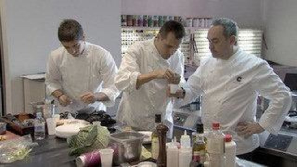 "Chef Ferran Adria, right, in his kitchen at El Bulli, which is the subject of the film ""El Bulli: Cooking in Progress."" Photo provided <strong></strong>"
