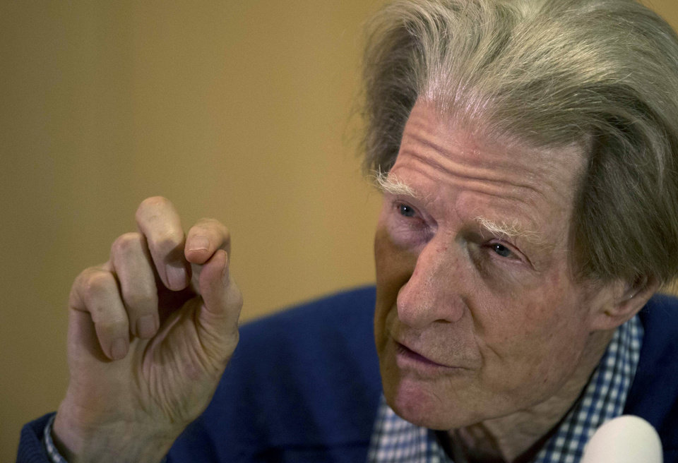 British scientist John Gurdon speaks during a news conference in London, Monday, Oct. 8, 2012. Gurdon and a Japanese scientist, Shinya Yamanaka, won the Nobel Prize in physiology or medicine on Monday for discovering that ordinary cells of the body can be reprogrammed into stem cells, which then can turn into any kind of tissue � a discovery that may led to new treatments. (AP Photo/Matt Dunham)