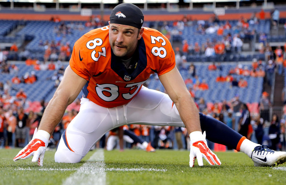 Photo - FILE - In this Aug. 23, 2014, file photo, Denver Broncos wide receiver Wes Welker (83) stretches prior to an NFL preseason football game against the Houston Texans in Denver. The Broncos will be without Welker for the first four games of the season after the NFL said the receiver violated the league's performance-enhancing drug policy. Normally, the league announces such violations on Monday. News of Welker's ban didn't come down until late Tuesday, Sept. 2, 2014, after the league offices had closed and the Broncos had already finished drawing up blueprints for their opener against Indianapolis, undoubtedly with Welker playing a prominent role.(AP Photo/Jack Dempsey, File)