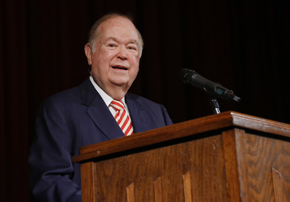 Photo - University of Oklahoma president David Boren speaks during a press conference to announce his retirement in Norman, Okla. on Wednesday, Sept. 20, 2017.  Photo by Chris Landsberger, The Oklahoman