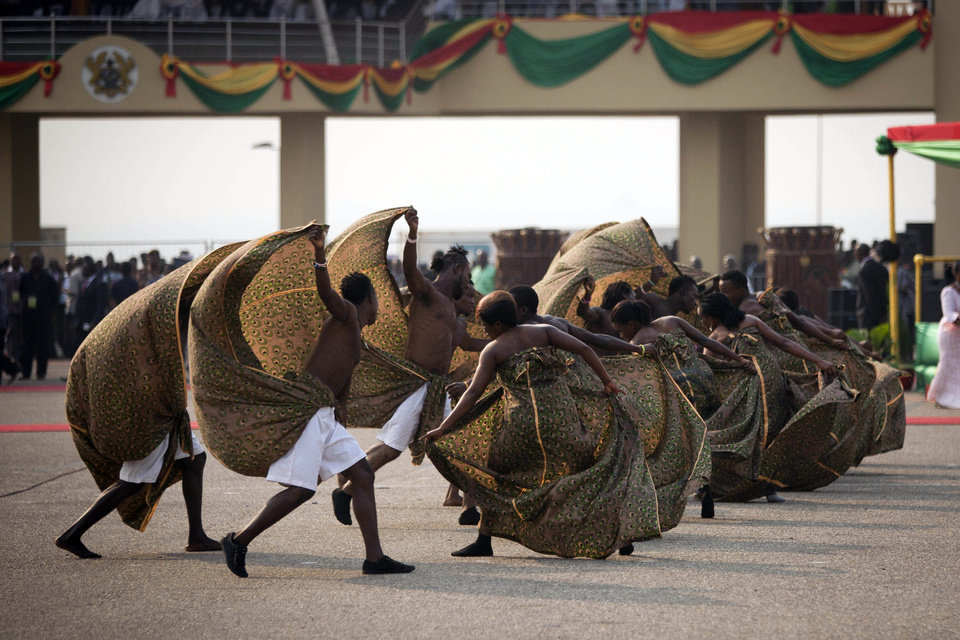 Photo - Dancers perform at Independence Square ahead of the inauguration ceremony of President-elect John Dramani Mahama, in Accra, Ghana, Monday, Jan. 7, 2013. Ghana's President John Dramani Mahama was sworn in Monday for a new four-year term in the West African nation's capital of Accra after winning a closely fought election in December. (AP Photo/Gabriela Barnuevo)