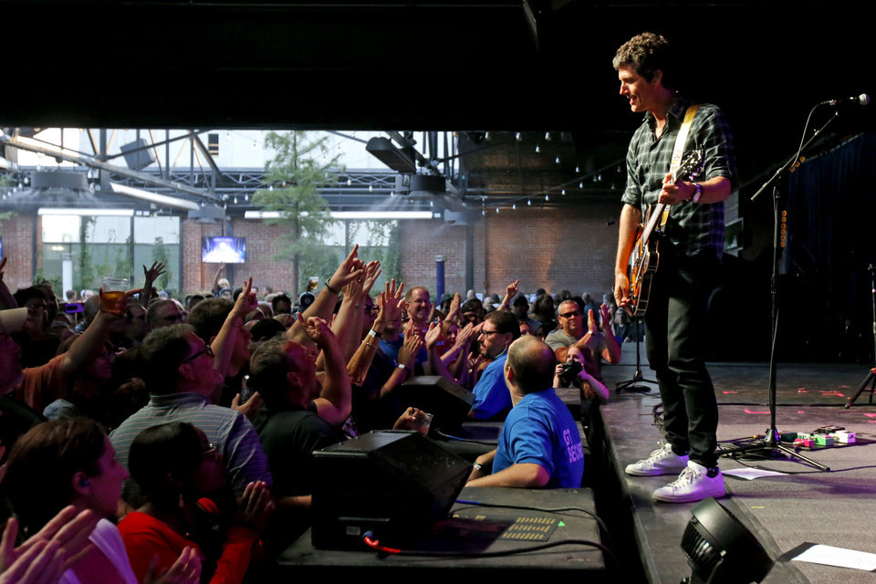 Photo -  Kevin Griffin, with Better Than Ezra, performs Saturday during a concert at The Jones Assembly in Oklahoma City. [Photo by Bryan Terry, The Oklahoman]