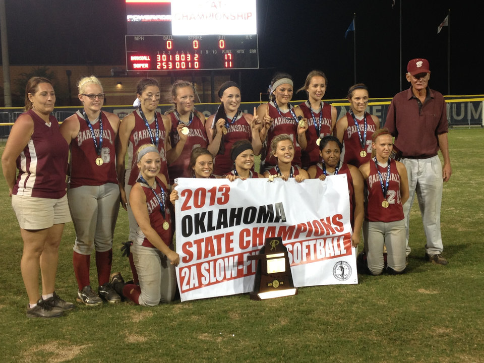Barnsdall won the Class 2A slowpitch title on Tuesday. Photo by Stephanie Kuzydym, The Oklahoman