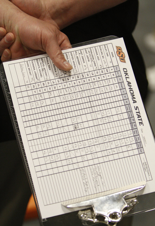 Photo - An NFL scout carries the clipboard with the official measurements of Oklahoma State football players during the NFL pro day at Oklahoma State University on Wednesday, March 9, 2011, in Stillwater, Okla.  Photo by Chris Landsberger, The Oklahoman