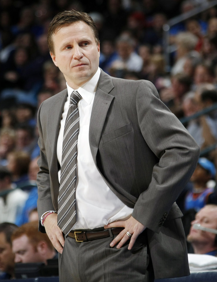 Oklahoma City head coach Scott Brooks looks at his bench during the NBA basketball game between the Dallas Mavericks and the Oklahoma City Thunder at the Oklahoma City Arena in Oklahoma City, Monday, Dec. 27, 2010. Photo by Nate Billings, The Oklahoman