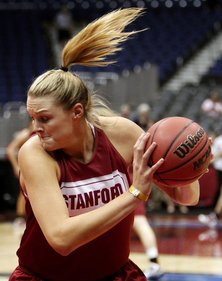 Photo - Stanford's Jayne Appel drives with the ball during practice before the Final Four of the NCAA women's  basketball tournament in San Antonio, Texas., on Saturday, April 3, 2010.  The University of Oklahoma will play Stanford on Sunday, April 4, 2010.