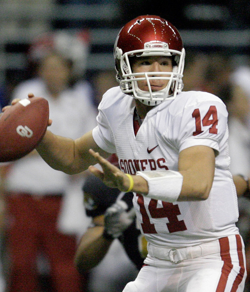 Sam Bradford and Oklahoma were ranked No. 4 in the final BCS standings of 2007. Using the BCS standings as seeds, if there was a four-team playoff that year, OU would have faced No. 1 Ohio state in the semifinals. AP PHOTO