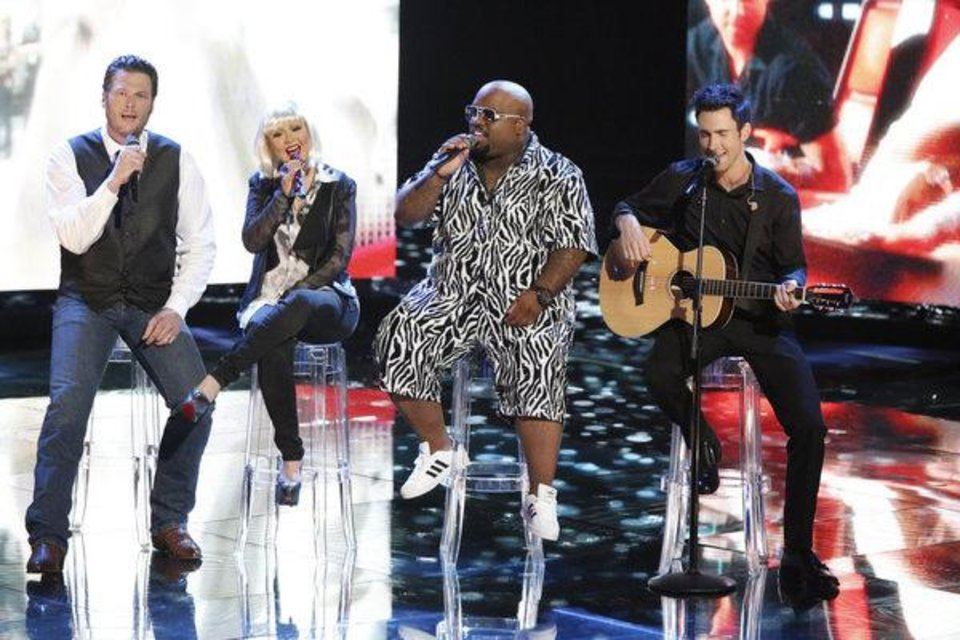 "THE VOICE -- ""Live Finale"" Episode 323B -- Pictured: (l-r) Blake Shelton, Christina Aguilera, CeeLo Green, Adam Levine -- (Photo by: Tyler Golden/NBC)"