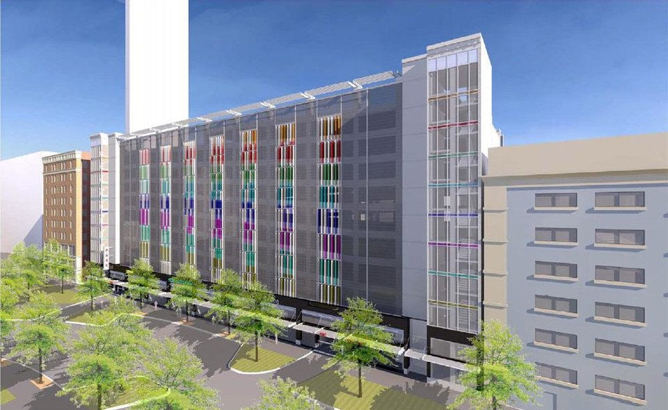 The proposed new garage along Main Street is shown in this rendering at nine stories high. Revised plans call for 10 stories of parking with an additional three stories of housing. Drawing provided by TAP Architecture