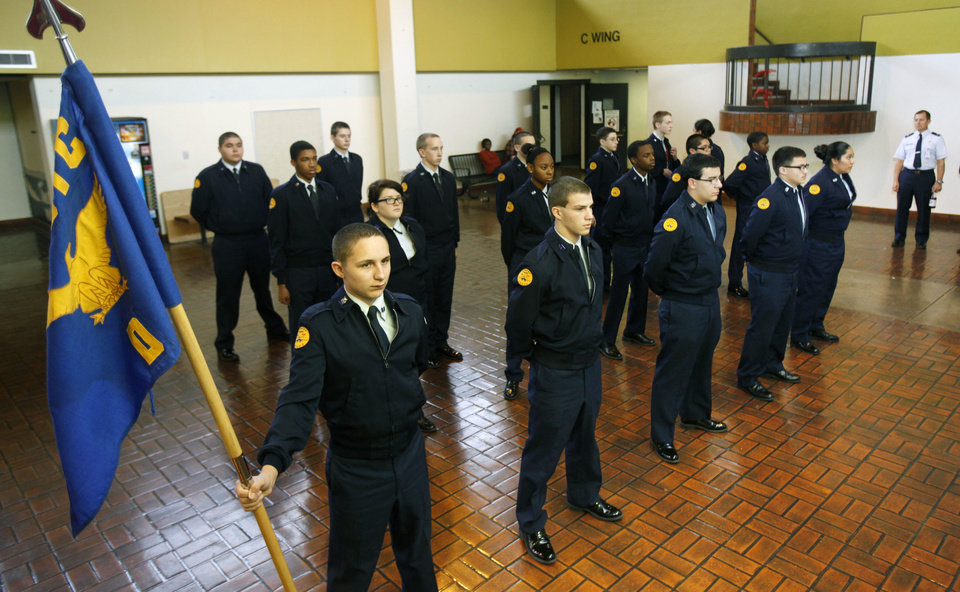 Cadets stand in formation during class time for the Midwest City High School JROTC. Photos by Paul Hellstern, The Oklahoman