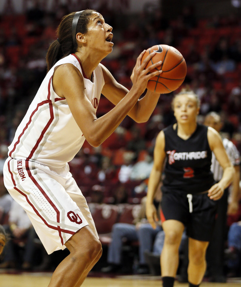 Oklahoma's Nicole Griffin (4) shoots in the first half during a women's college basketball game between the University of Oklahoma (OU) and Cal State Northridge at the Lloyd Noble Center in Norman, Okla., Saturday, Dec. 29, 2012. Photo by Nate Billings, The Oklahoman