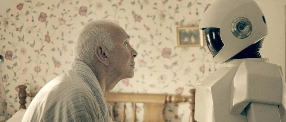 Photo - Frank Langella as retired cat burglar Frank, arguing with his android caretaker in
