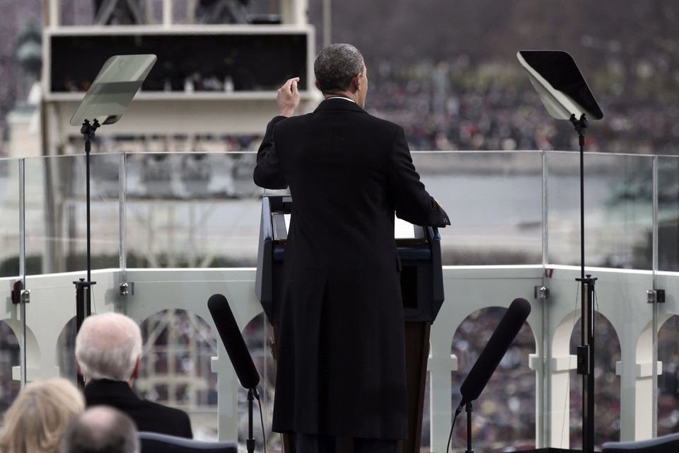 Photo - President Barack Obama gestures as he gives his inauguration address during a ceremonial swearing-in ceremony during the 57th Presidential Inauguration, Monday, Jan. 21, 2013  on the West Front of the Capitol in Washington.  (AP Photo/Win McNamee, Pool)