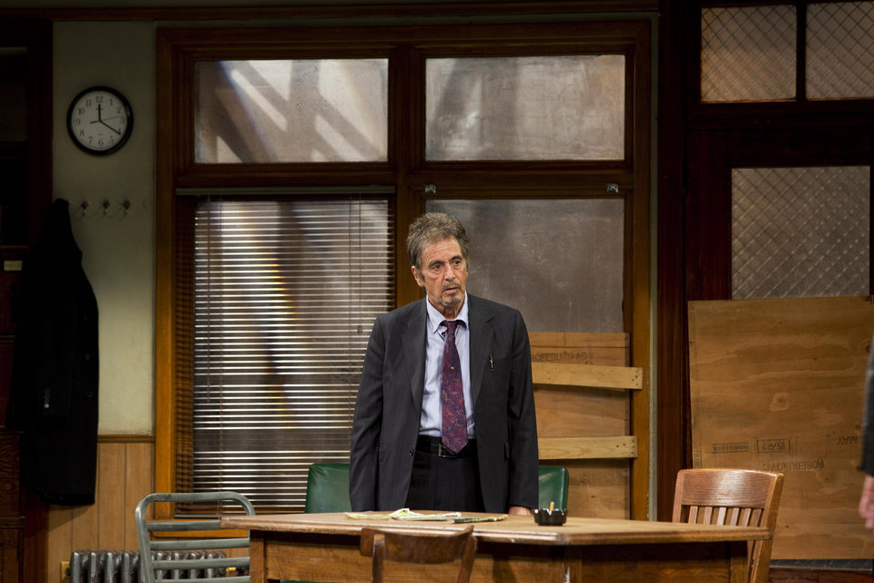 "This undated publicity photo released by Jeffrey Richards Associates shows Al Pacino in a scene from ""Glengarry Glen Ross"" at the Gerald Schoenfeld Theatre in New York. (AP Photo/Jeffrey Richards Associates)"