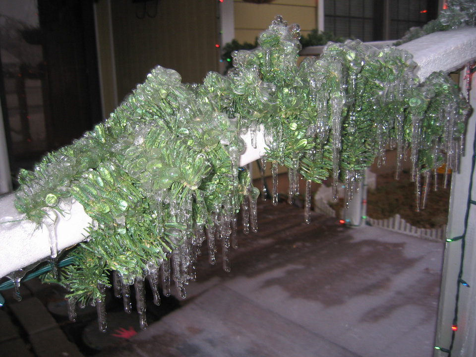 Christmas garland after the ice storm.<br/><b>Community Photo By:</b> Jenny<br/><b>Submitted By:</b> jenny, tinker afb