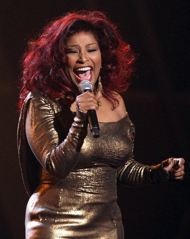 Photo -   Chaka Khan performs during the in memoriam for Whitney Houston at the BET Awards on Sunday, July 1, 2012, in Los Angeles. (Photo by Matt Sayles/Invision/AP)