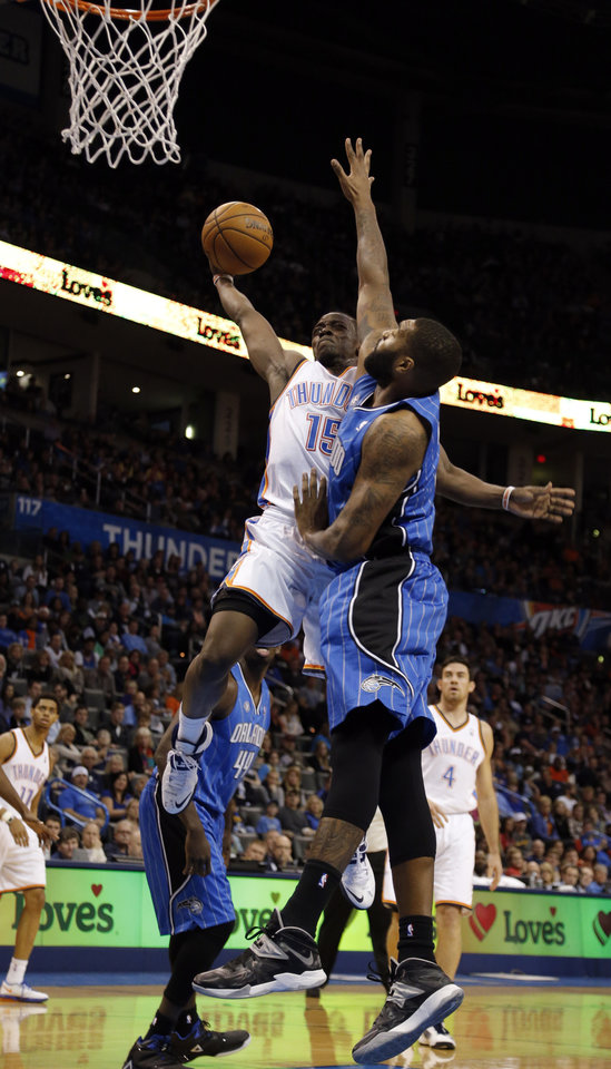 Photo - during the NBA basketball game between the Oklahoma City Thunder and the Orlando Magic at the Chesapeake Energy Arena, Sunday, Dec. 15,  2013. Photo by Sarah Phipps, The Oklahoman