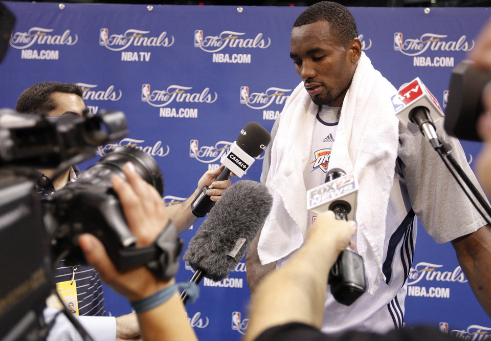 Photo - Serge Ibaka talks to the media during the NBA Finals practice day at the Chesapeake Energy Arena on Monday, June 11, 2012, in Oklahoma City, Okla. Photo by Chris Landsberger, The Oklahoman