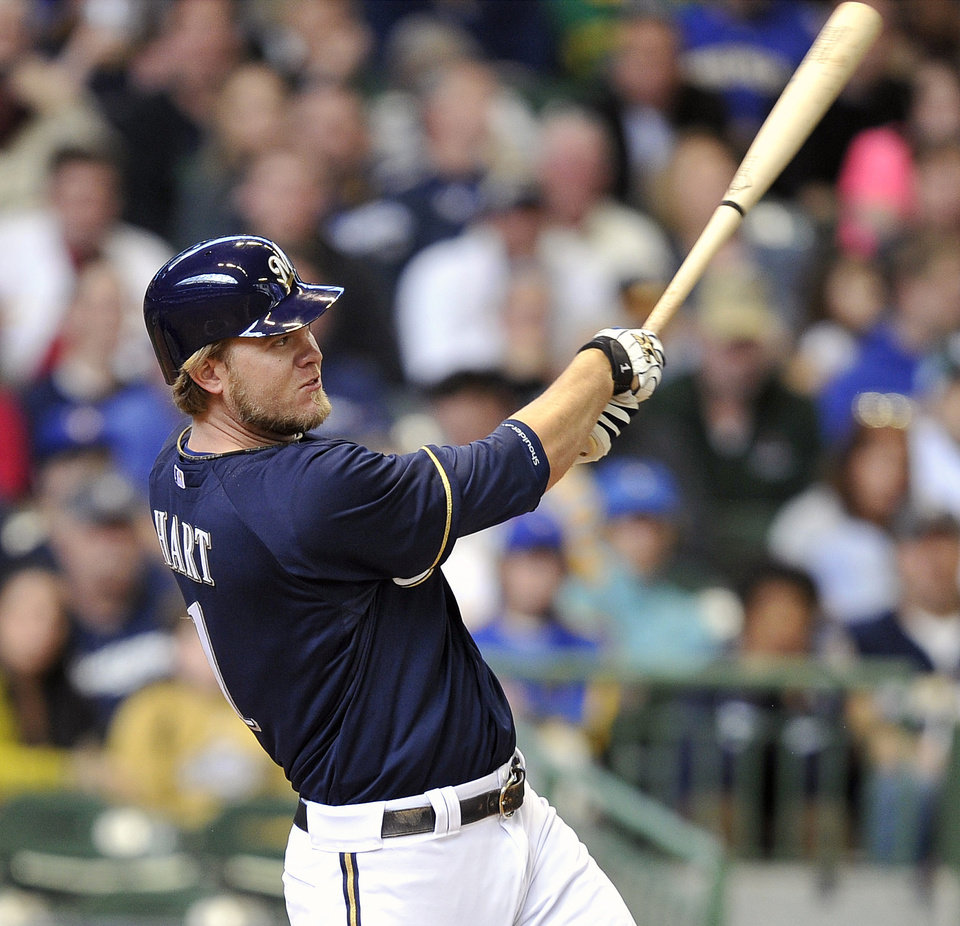 Photo -   Milwaukee Brewers' Corey Hart watches his solo home run against the St. Louis Cardinals during the fifth inning of a baseball game, Sunday, April 8, 2012, in Milwaukee. (AP Photo/Jim Prisching)