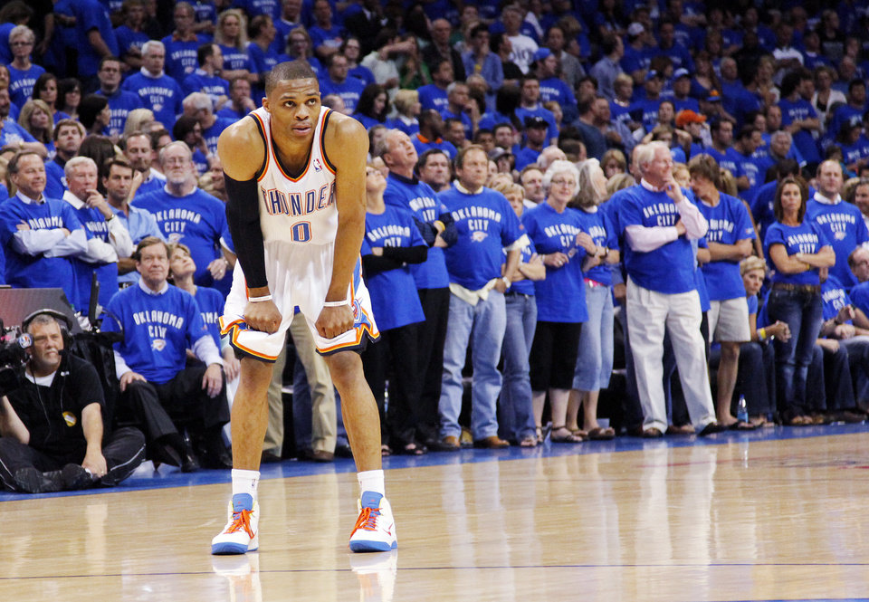 Oklahoma City's Russell Westbrook (0) rests his hands on his knees late in overtime during game 4 of the Western Conference Finals in the NBA basketball playoffs between the Dallas Mavericks and the Oklahoma City Thunder at the Oklahoma City Arena in downtown Oklahoma City, Monday, May 23, 2011. Dallas won in overtime, 112-105. Photo by Nate Billings, The Oklahoman