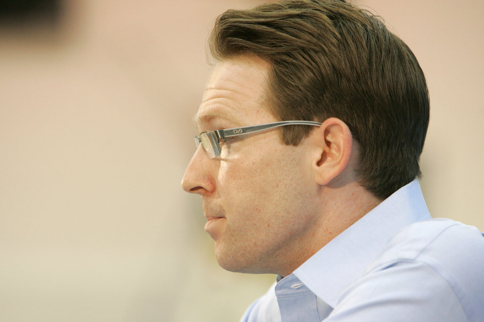 Photo - NBA BASKETBALL: Oklahoma City Thunder General Manager Sam Presti answers questions during the final press conference of the season in Oklahoma City, Oklahoma, Friday, April 17, 2009.  Photo by Steve Gooch, The Oklahoman ORG XMIT: KOD