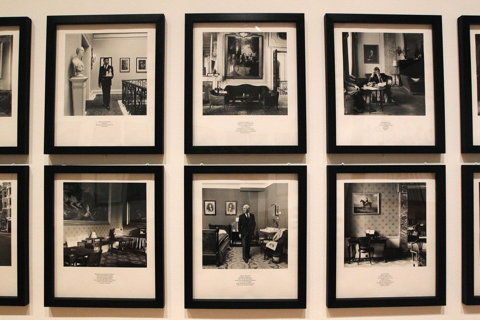 In this photo taken Tuesday, Oct. 9, 2012, gelatin silver prints by Karen Knorr (untitled, from the series Gentlemen, 1981-83), as seen as part of one of two new exhibits featuring art exclusively by women at the Seattle Art Museum, in Seattle. Included in the exhibition is the only U.S. stop for an exhibit from the Pompidou Center in Paris, home of the modern art museum there, of painting, sculpture, drawing, photography and video. The exhibit runs through Jan. 13, 2013. (AP Photo/Elaine Thompson)