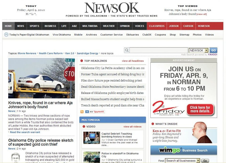 "NewsOK.com, seen above, won best Web site in the 2009 Carl Rogan Awards. The  Oklahoman's Nolan Clay won the Sweepstakes award and Amy  Raymond won first place for Page One Deadline Layout for the ""Dying Too Young"" series, seen at right."