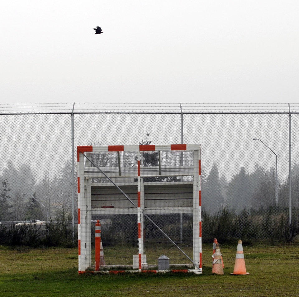 Photo -   FILE- In this Friday, Jan. 16, 2009 file photo, a bird flies over a trap used to catch sparrows near a runway at the Seattle-Tacoma International Airport, during a demonstration of bird-deterrents used at the airport for journalists in Seattle. Although there is evidence that bird-control efforts near airports are paying off, U.S. Sen. Kirsten Gillibrand, D-NY, introduced legislation on Wednesday, April 25, 2012 that would make it easier to round up geese near JFK Airport and kill them, after a second airliner was forced from the skies over New York due to a bird strike. (AP Photo/Ted S. Warren)