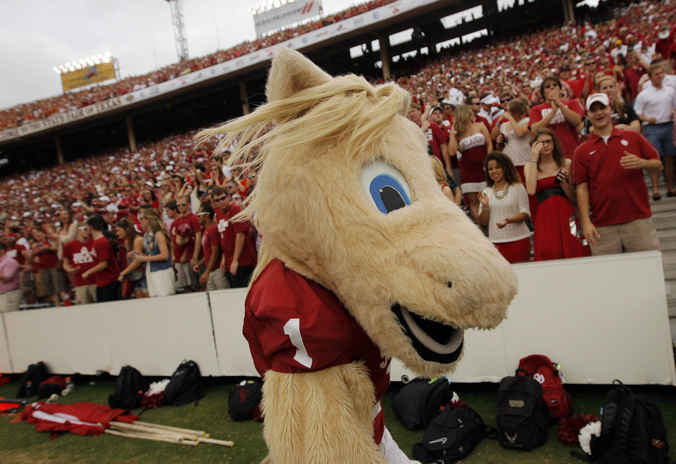 OU mascot Boomer walks the sideline during the Red River Rivalry college football game between the University of Oklahoma (OU) and the University of Texas (UT) at the Cotton Bowl in Dallas, Saturday, Oct. 13, 2012. OU won, 63-21. Photo by Nate Billings, The Oklahoman