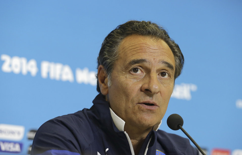 Photo - Italy coach Cesare Prandelli answers a question during a press conference at the Arena das Dunas in Natal, Brazil, Monday, June 23, 2014. (AP Photo/Antonio Clanni)