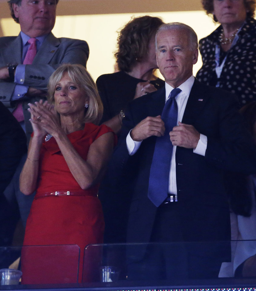 Photo - Vice President Joe Biden and his wife Jill Biden watch proceedings at the Democratic National Convention in Charlotte, N.C., on Tuesday, Sept. 4, 2012. (AP Photo/Charlie Neibergall)  ORG XMIT: DNC462