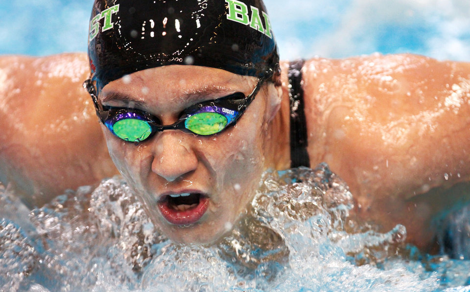 Oklahoma Baptist University swimmer Lauren Spray competes in a 200 yard butterfly women\'s heat at the NAIA Swimming and Diving National Championships in the aquatic center on the Oklahoma City Community College campus on Saturday, March 3, 2012. Photo by Jim Beckel, The Oklahoman