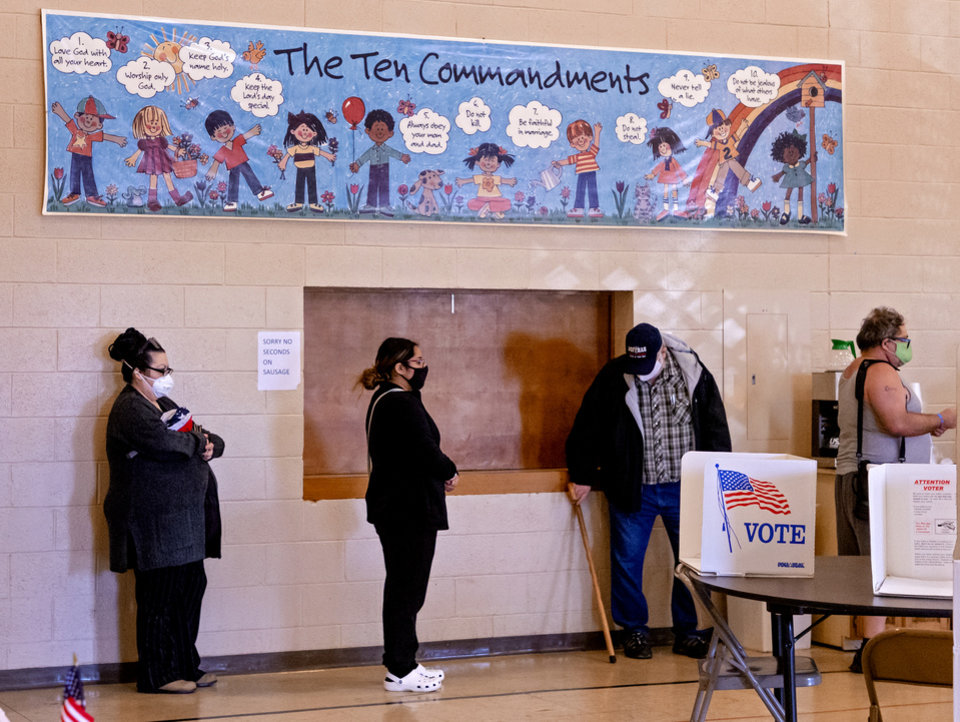 Photo - Voters wait in line to cast their ballots at the Mayridge Baptist Church in Oklahoma City, Okla. on Tuesday, Nov. 3, 2020. [Chris Landsberger/The Oklahoman]