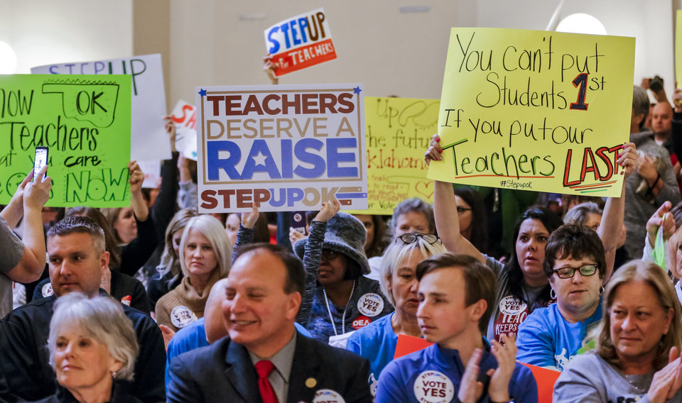 Photo - Teachers gather during a rally to support the Step Up Oklahoma Plan at the state capitol in Oklahoma City, Okla. on Monday, Feb. 12, 2018.    Photo by Chris Landsberger, The Oklahoman